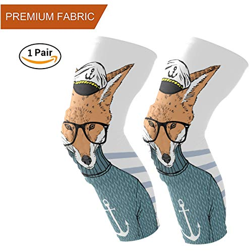 Naanle Chic Funny Captain Fox Print Sports Knee/Elbow/Shin Pads Honeycomb Compression Athletic Long Sleeve Protector Gear, Youth & Adult, Sold as Pair (2 Sleeves) (Elastic Captain Wrap Long Sports)