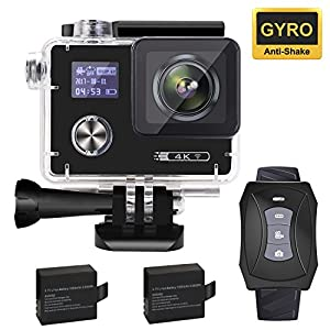 """Aokon 4K Action Camera 16MP Waterproof Underwater Night Mode Ultra HD Sports Cam with 2"""" Dual Screens/120 - 170 Adjustable Wide Angle Lens/Rechargeable Remote/2 Batteries/20 Accessories Kits"""