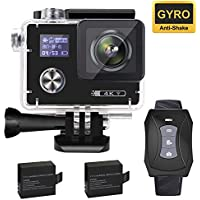 Aokon 4K Action Camera, ARC500 WiFi 16M Waterproof Underwater Ultra HD Sports Video Cam with 2 Dual Screens/170° Adjustable Wide Angle Lens/Rechargeable Remote Control/2 Batteries/20 Accessories Kits