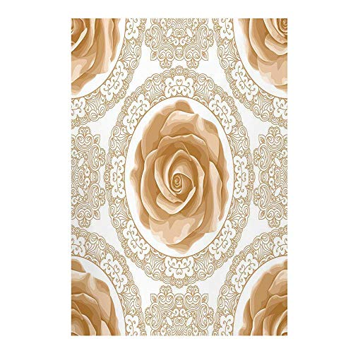 Floral Stylish Backdrop,Rose Florets with Classic Golden Lace Authentic Feminine Retro Oriental Motif for Photography,59
