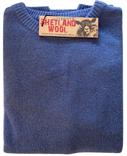 Boutique Retailer Men's Shetland Wool Crew Neck Cardigan Sweater Knitted Jumper Pullover (X-Large, Blue)