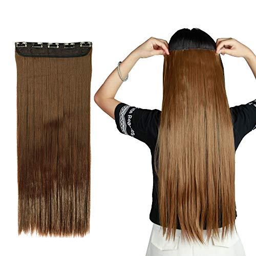 Clip in/on Hair Extension 5 Clips One Piece Full Head Hairpiece Long Synthetic Heat-Resistant Hair For Party/Halloween For Women Girls Teen (23
