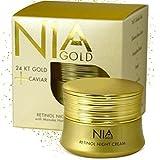 Nia Gold Luxury Anti-Aging Skin Care. Retinol Night Cream with 24 KT Gold, Argan Oil, Jojoba Oil and Pure Honey. 1oz.