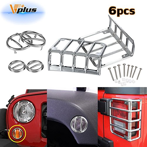 Vplus 6 Pcs Silver Guard Cover Protectors Tail Light Front Turn Signal Fender Side Marker 2007-2016 Jeep Wrangler