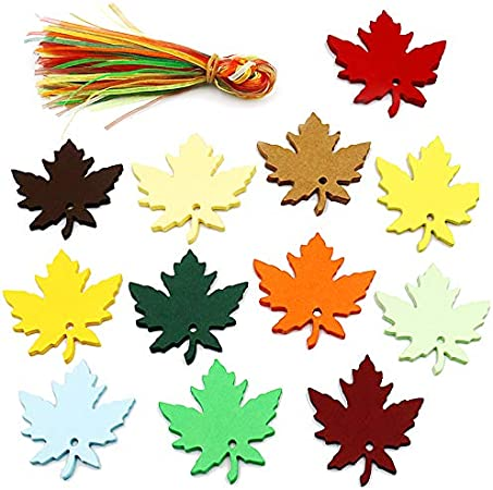 LUTER 120 Pieces Maple Leaf Gift Tags Halloween 12 Color Fall Leaf Hang Sign Tags with 120pcs Multi-Color Hanging Ribbons for Wedding Thanksgiving Party Decorations
