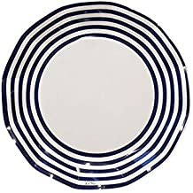 Sophistiplate 43Jy2 Classic Paper Salad/Dessert Plates, Pack Of 20, Navy Blue Stripe