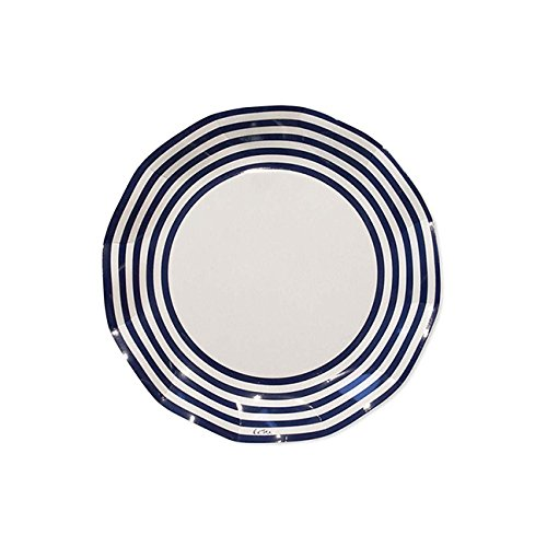 Sophistiplate 43Jy2 Classic Paper Salad/Dessert Plates, Navy Stripe (Pack of 20) - Navy Salad Plate
