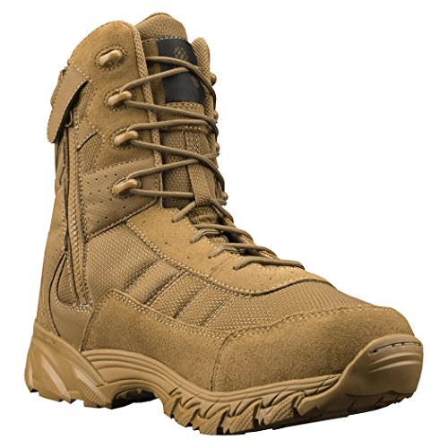 Altama Mens Vengeance SR 8in Side-Zip Leather Boot,Size 9,Coyote