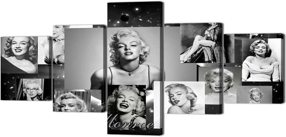 Marilyn Monroe Wall Art Vintage Black and White Sexy Marilyn Monroe Painting Prints on Canvas 5 Pieces Modern Picture Artwork Decor for Living Room Home Framed Stretched Ready to Hang (50''Wx24''H)