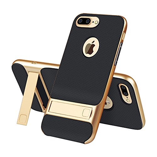 iPhone 7plus 8plus Case With Kickstand - USAcases 2017 Slim Fit Built-in Holder Stand Premium Carbon Fiber Dual Layer Hybrid Shockproof Heavy Duty Protection For iPhone 7Plus/8plus (Gold)