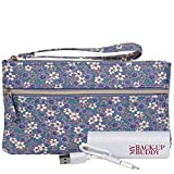 Wilsons Leather Womens Back Up Buddy Ii Fauxleather Wristlet Floral Periwinkle