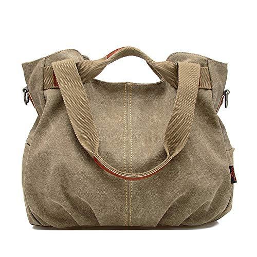 Hutang Women's Vintage Hobo Canvas Handbags Multi-pocket Cotton Soft Comfortable Casual Pleated Bag (khaki)