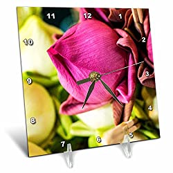 3dRose Danita Delimont - Flowers - Thailand, Chiang Mai, Flowers at the Thai Market Place - 6x6 Desk Clock (dc_276974_1)