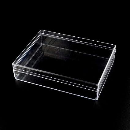 NBEADS - Caja de Almacenamiento Rectangular de plástico Transparente con Tapa para organizar Piezas pequeñas,