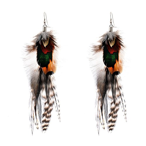 Lureme Bohemian Style Multicolor Pheasant Feathers Dangle Earrings for Women and Girls (02004768)