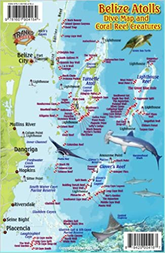 Belize Atolls Dive Map Reef Creatures Guide Franko Maps - Map of belize