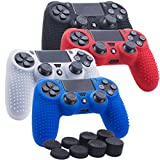 YoRHa Studded Silicone Cover Skin Case for Sony PS4/slim/Pro controller x 4(black+white+red+blue) With Pro thumb grips x 8