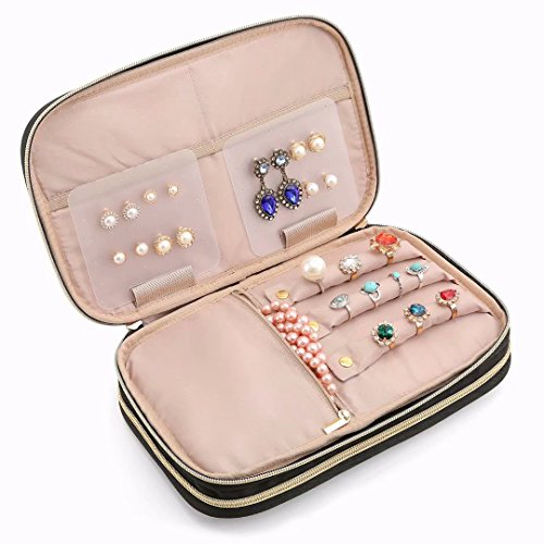 BAGSMART Double Layer Travel Jewelry Organizer Jewelry Storage Carrying Cases for Earrings, Necklaces, Rings, Pink by BAGSMART (Image #3)