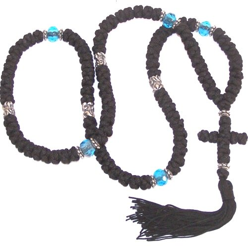 Black Knotted wool Komvoschinia with Blue glass and Silver beads (100 Knots - 23