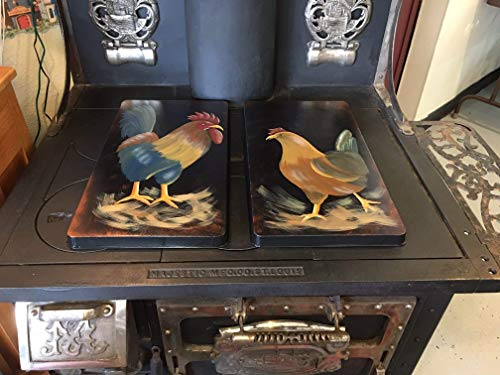 - Primitive Country Decor Hand Painted Farmhouse Rooster and Hen Stove Burner Cover Set of 2