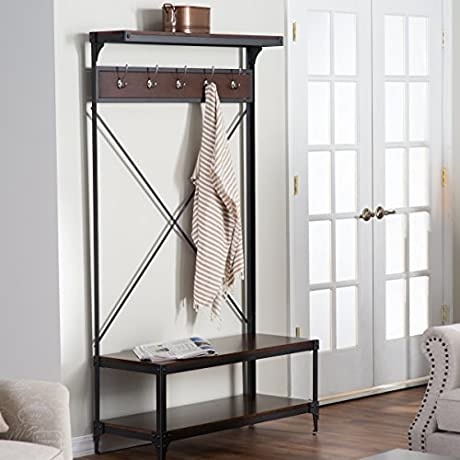 Entry Hall Tree Coats Bags Hangers W Storage For Shoes Belham Living Trenton
