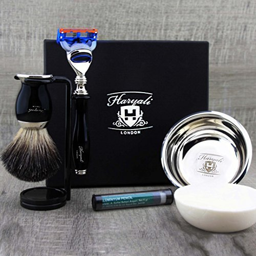 Classic Men's Shaving Set in Black Featuring Pure Black Badger Brush & Gillette Fusion Razor. Perfect as a Gift. by Haryali London