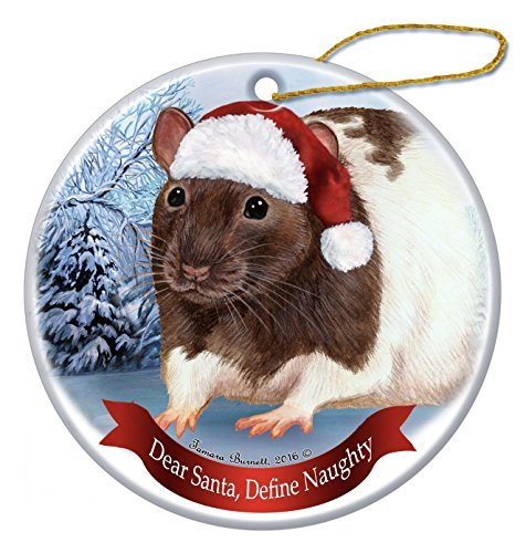 Leiacikl22 Unique Designed Brown Hooded Rat Santa Hat Porcelain Hanging Ornament (Rat Hooded)