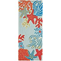 AREA RUGS -CARIBBEAN BREEZE INDOOR OUTDOOR RUG - 2 x 5 RUNNER - NAUTICAL DECOR