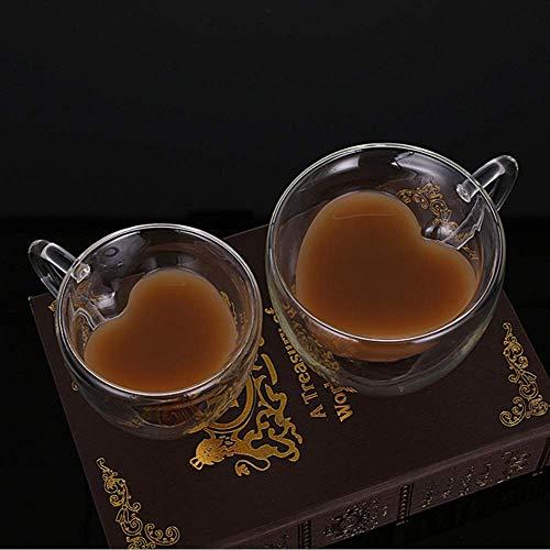 2 Pcs/Set Heart Shaped Double Wall Glass Milk Lemon Juice Cup Tea Mug Lover Coffee Cups Drinkware for Home Party]()