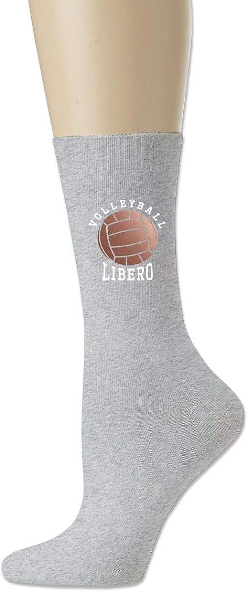 Volleyball Libero Crew Sock Cotton Funny Solid Socks Womens