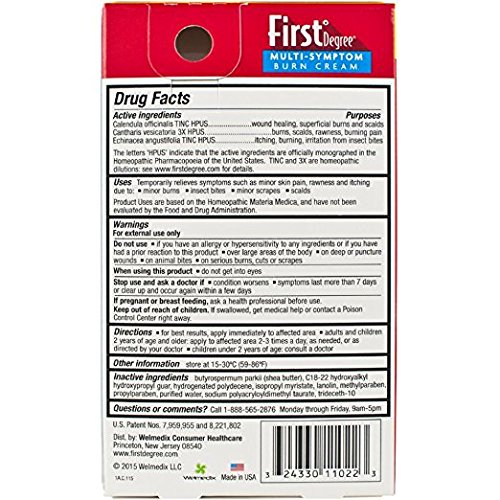 First Degree Burn Cream 0.75 oz (Pack of 2) (Packaging May Vary)