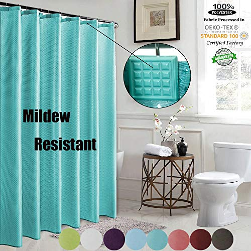 ROYACOR Fabric Shower Curtain with 12 Polyresin Hooks, Water-Repellent Rustproof Bath Curtain, 72x72 Non Toxic 100% Durable Polyester Shower Curtain Liner, Machine Washable,Easy to Install-Indigo
