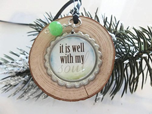 Wood Slice Ornament, It Is Well With My Soul, Inspirational Accents, Bible Verse
