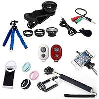 Kit Youtuber 7x1 - Mini-Tripé Flexível + Bastão Selfie + Suporte Celular + Controle Bluetooth + Microfone de Lapela com Adaptador + Kit de Lentes 3x1 + Flash Ring LED