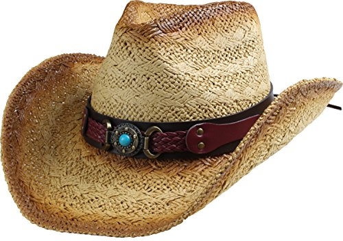 Classic Straw Cowboy Cowgirl Hat Western Outback w/Wide Brim - B