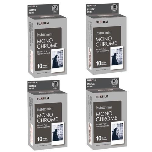 Fujifilm 4X Instax Mini Monochrome Instant Film, 10 Pack, Bl