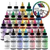 U.S. Cake Supply by Chefmaster Deluxe 24 Color Airbrush Cake Color Set - 2 fl. oz. Bottles & Bonus Color Mixing Wheel