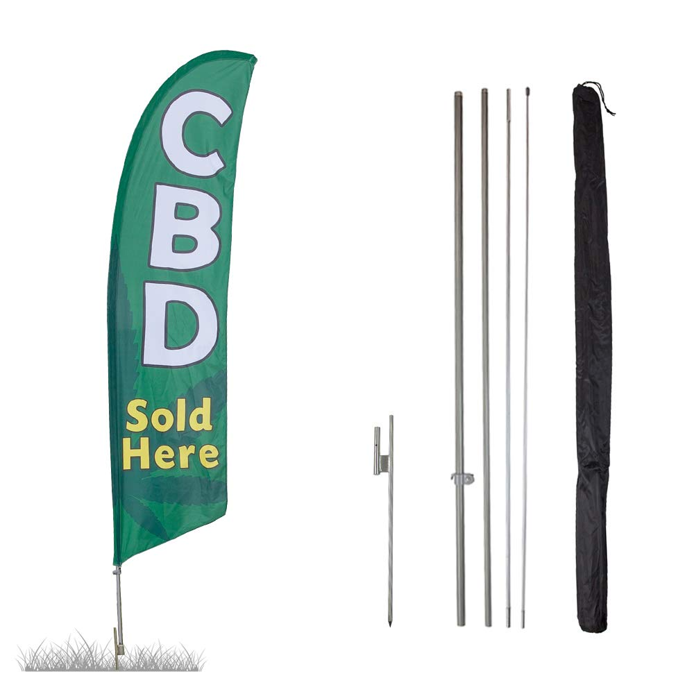 Vispronet - CBD Feather Flag Kits - 13.5ft Flag Complete Pole Set Ground Stake – Great for Businesses, Storefronts, Sales - Printed in The USA