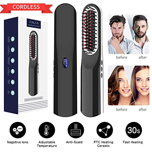Cordless Hair Straightener ANLAN Ionic Hair Straightening Brush Cordless Beard Straightener Comb Hot Tools with 30s Fast Heating, Anti Scald, Adjustable Temperature for Women Men Hair Styler Hot Comb
