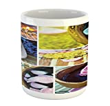 Ambesonne Spa Mug, Spa Organic Cosmetics Theme Wooden Bowl Petals Lavender Candle Pebbles Therapy Oil, Printed Ceramic Coffee Mug Water Tea Drinks Cup, Purple Brown