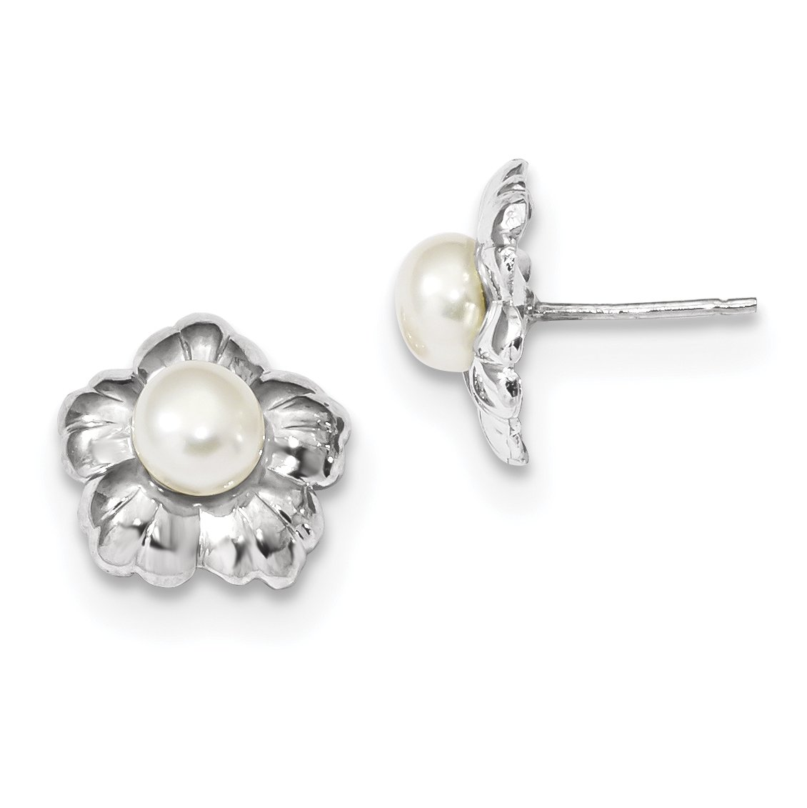 ICE CARATS 14k White Gold 6mm Button Freshwater Cultured Pearl Flower Post Stud Ball Earrings Fine Jewelry Gift Set For Women Heart