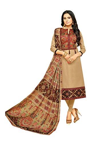 Indian Women Designer Partywear Ethnic Traditonal Biege Anarkali Salwar Kameez. by The Stylam