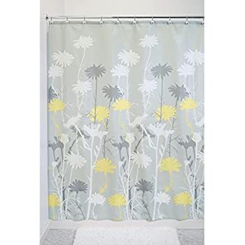 Interdesign Daizy Shower Curtain Gray And