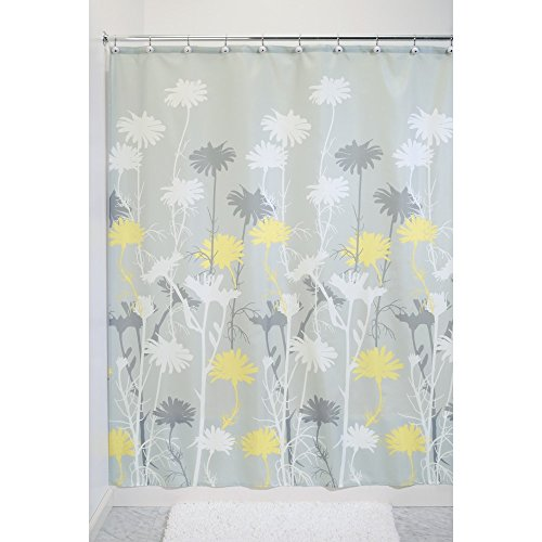 InterDesign Daizy Shower Curtain, Gray and Yellow, 72 x 72-Inch