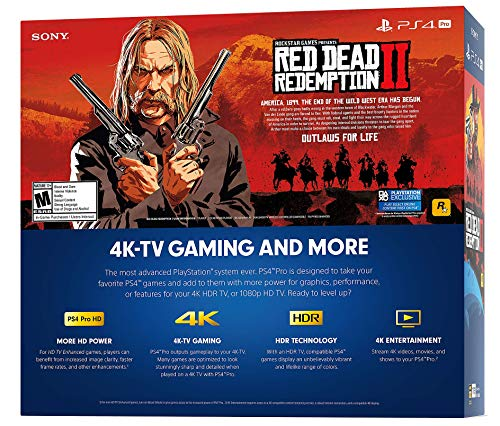 Playstation 4 Pro 2TB SSHD Console with Red Dead Redemption 2 Bundle, 4K HDR, Playstation Pro Enhanced with Solid State Hybrid Drive 4