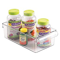 mDesign Storage Bin Organizer for Vitamins, Medicine, Medical, Dental Supplies - Medium, Clear