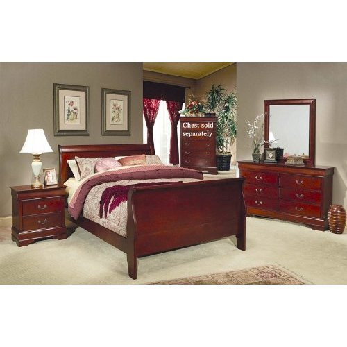 Amazon.com: 4pc King Size Sleigh Bedroom Set Louis Philippe Style ...