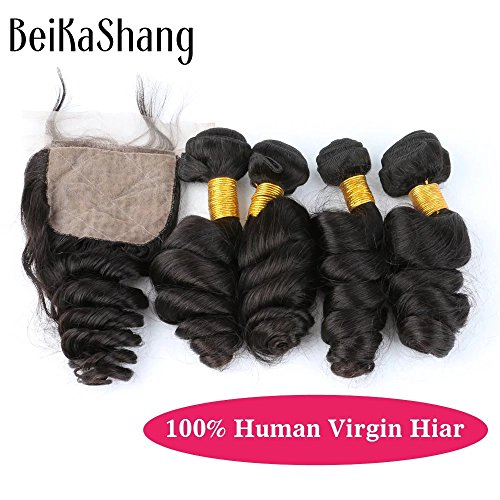 Price comparison product image BeiKaShang Brazilian Virgin Hair with Closure Unprocessed Brazilian Loose Wave Human Hair Weave 4 Bundles with 44 Silk base Free part Closure 18x18x18x18+18