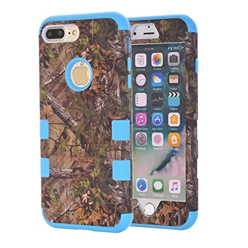 Camo Oak Tree Case by Tech Express for Apple iPhone 7+ / 8+ Plus Camouflage Real Hunting Mossy Durable Defender Heavy Duty Protection Shockproof Protective Thick Cover [3 Piece Hard Cover] (Blue)