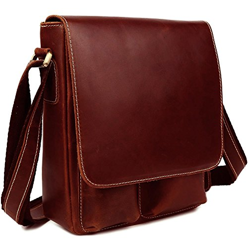 Mens Leather Messenger (BAIGIO Leather Crossbody Messenger Bag Casual Flap-over Satchel Shoulder Handbag (Reddish Brown))
